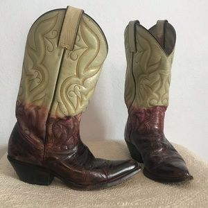 Rudel Authentic Red Cream Leather Cowboy Boots 7.5